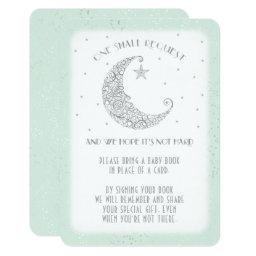 Book Request Moon Star Baby Shower Silver Mint