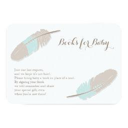 Books Request Boho Feather Blue and Grey
