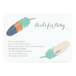 Books Request Boho Feather Navy Orange & Teal