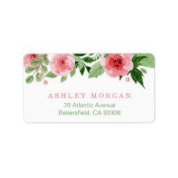 Botanical Watercolor Garden Rose Flowers Label