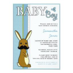 Boy Baby Shower Cute Bunny with Mustache - Blue
