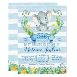 Boy Baby Shower Invitation, Elephant Baby Shower