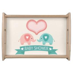 Boy & Girl Twin Pink & Teal Elephants Baby Shower Serving Tray