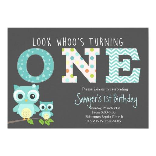 boy Owl First Birthday -Look whoo is turning one
