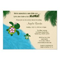 BOY Sea TURTLE Baby Shower Invite BLUE (Honu) 02A