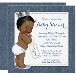 Boys Blue Denim African American Baby Shower