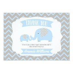 Boys Blue Elephants Thank You Baby Shower