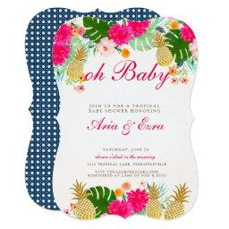 Bright Pink Tropical Pineapple Baby Shower Invite
