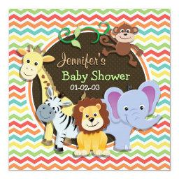 Bright Rainbow Chevron Zoo Animals Baby Shower