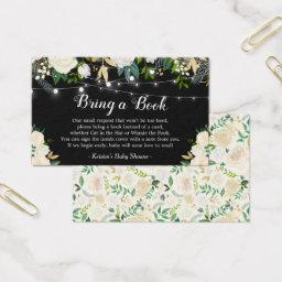Bring a Book Request White Rose Floral Baby Shower