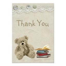 Bring a Book Teddy Vintage Lace Print Thank You