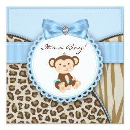 Brown and Blue Monkey Baby Boy Shower