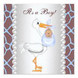 Brown Blue Giraffe Stork Baby Boy Shower