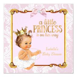 Brunette Baby Princess  White Pink Gold