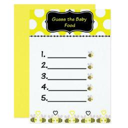 Bumble Bee Guess the Baby Food Baby Shower Game