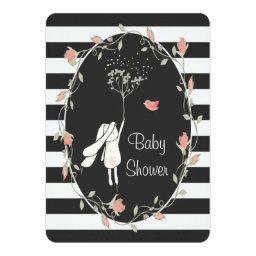 Bunny  Black White Stripe Floral Wreath