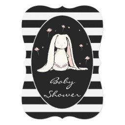 Bunny Baby Shower Pink Flowers Black White Stripes
