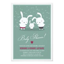 Bunny Family Couples Baby Shower  Teal