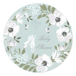 Bunny Floral Wreath Boy Baby Shower