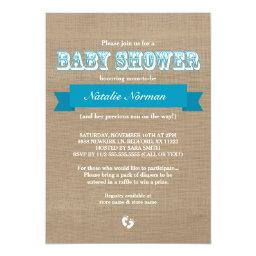 Burlap and blue ribbon rustic baby boy shower
