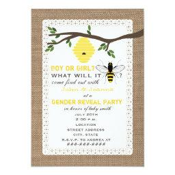 Burlap Inspired Bee Themed Gender Reveal Party
