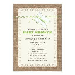Burlap Lace & Green Twine Inspired