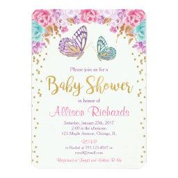 Butterfly baby shower invitation, pink purple gold