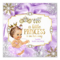 Carriage Princess Baby Shower Purple Brunette