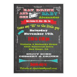 Chalkboard Baby Announcement Sip and See Invites