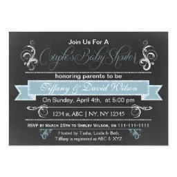 chalkboard blue Couple's Baby shower