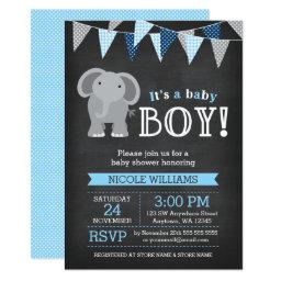 Chalkboard Elephant Boy Baby Shower