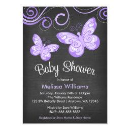 Chalkboard Purple Butterfly Swirls Baby Shower