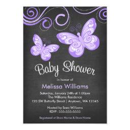 Chalkboard Purple Butterfly Swirls