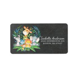 Chalkboard Safari Jungle Baby Shower Address Label