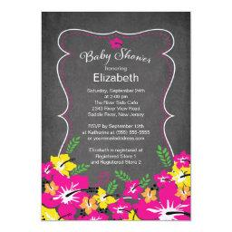 Chalkboard Tropical Hibiscus Flowers Baby Shower