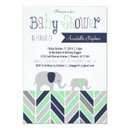 Chevron Elephant   Navy Mint
