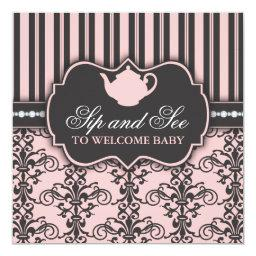 Chic Damask Pink Sip and See Baby Tea