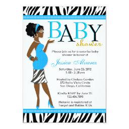 Chic Glam Modern Mom Blue Zebra Baby Shower