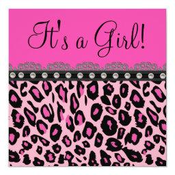 Chic Hot Pink Leopard Baby Shower