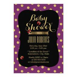 Chic Purple & Gold Dots Ladybugs Baby Shower