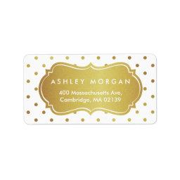 Chic White and Gold Glitter Polka Dots Label