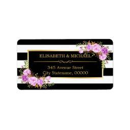 Classy Purple Floral Gold Black White Stripes Label