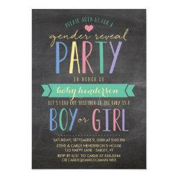 Colored Chalkboard Gender Reveal Party