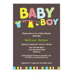Colorful Baby Boy Shower with Clothesline
