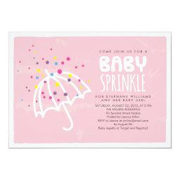 Colorful Modern Pink Baby Girl Sprinkle Invitations