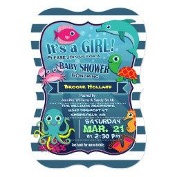Colorful Sea Life Girl Baby Shower