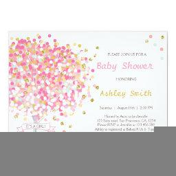 Confetti Tree Baby Shower  Pink Gold