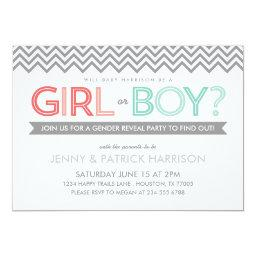 Coral and Aqua Chevron Baby Gender Reveal Party