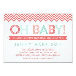 Coral and Mint Modern Chevron Baby Shower