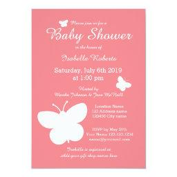 Coral butterfly baby shower  for girl